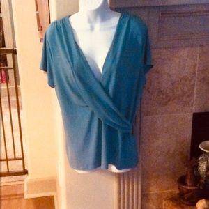 Charter Club blue faux wrap top